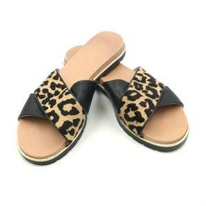 Kate Spade Fur Leopard Print calf hair  Sandals